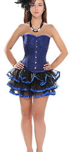 Blidece Women Blue Floral Gothic Lolita Princess Corset With Mini Tutu Skirt XL (Floral Mini Corset)