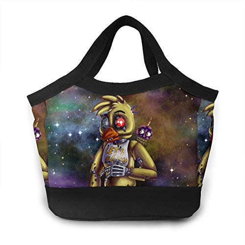 Nightmare Chica Five Nights At Freddy's Lunch Tote Insulated Reusable Picnic Lunch Bags Boxes For Men Children Kid Women -