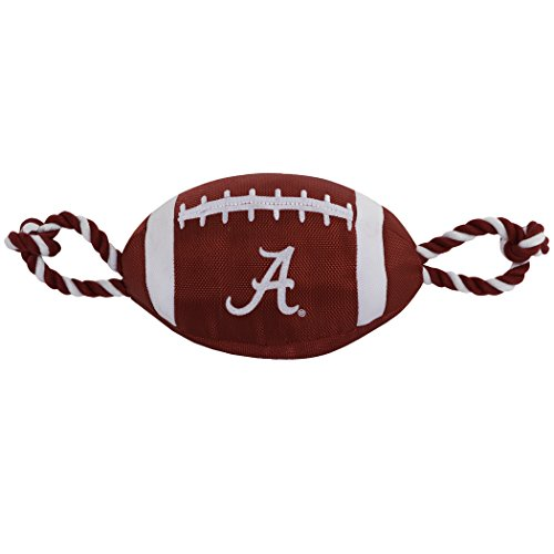 Pets First NCAA Alabama Crimson Tide Football Dog Toy, Tough Quality Nylon Materials, Strong Pull Ropes, Inner Squeaker, Collegiate Team Color ()