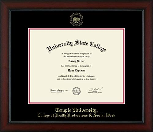Temple University College of Health Professions & Social Work - Officially Licensed - Gold Embossed Diploma Frame - Diploma Size 14