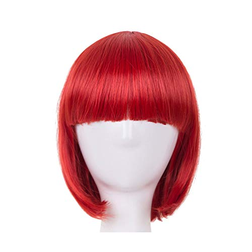 Wig Synthetic Heat Resistant Short Wavy Red Hair Costume Carnival Halloween Flat Hairpiece,Red,12inches -