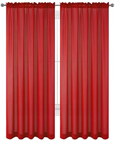 """Drape/Panels/Treatment Beautiful Sheer Voile Window Elegance Curtains for Bedroom & Kitchen, 57"""" inch x 84"""" inch, Set of 2 (Orange)"""