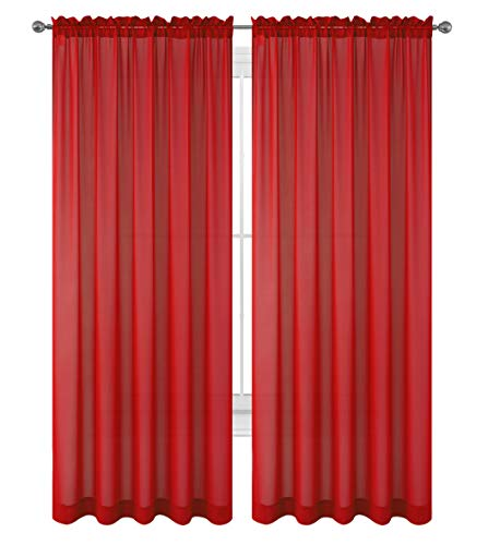WPM WORLD PRODUCTS MART Drape/Panels/Scarves/Treatment Beautiful Sheer Voile Window Elegance Curtains Scarf for Bedroom & Kitchen Fully Stitched and Hemmed, Set of 2 Red (Red, 84