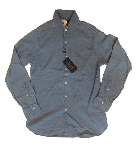 (RALPH LAUREN Polo Mens Classic Fit Denim Button Down Shirt Blue (L))