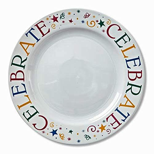 Chefs Ceramic Plates - Pampered Chef CELEBRATE Cake or Serving Plate in Gift Box White 11 inches Ceramic