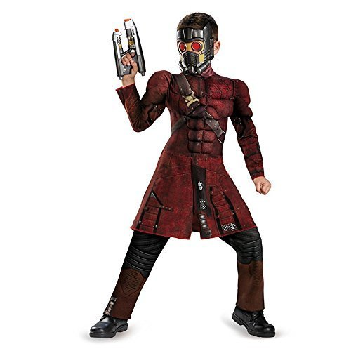 Starlord Kids Costumes Mask (Disguise Marvel Guardians of The Galaxy Star-Lord Classic Muscle Boys Costume, Small/4-6)