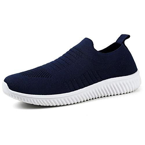 HKR Damen Sneaker Atmungsaktive Turnschuhe Bequem Sportschuhe Slip On Jogging Fitness Schuhe