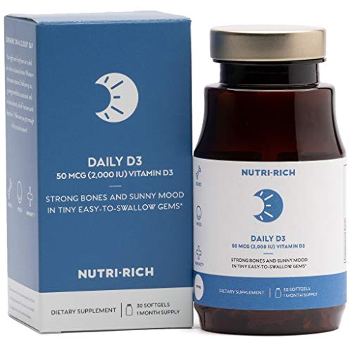 Daily Vitamin D by Nutri-Rich - D3 2,000 IU  for Improved Mo