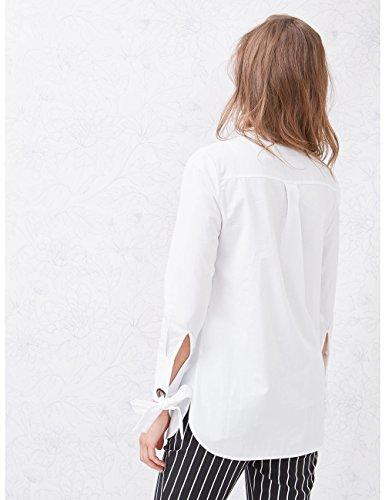 Donna Camicia 100 Maniche Lunga italian Con Oltre Cotone Size Nastro Fiocco Bianco CZxpqnnaw