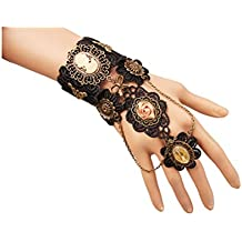 Gothic Black White Lace Bracelet Steampunk Vampire Slave Flowers Wristband Ring Wedding Accessories
