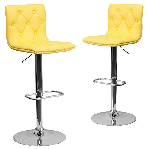 (Flash Furniture 2 Pk. Contemporary Tufted Yellow Vinyl Adjustable Height Barstool with Chrome Base)