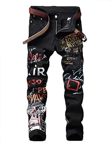 Enrica Men's Casual Color Printed Jeans Skinny Black Denim Pants (Black&Air, 36)