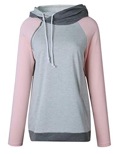XXXITICAT Women's Long Sleeve Double Hooeded Striped Sweatshirt Patchwork Zipper Stitching Sports Pullover Tops Hoodies(PI,2XL) ()