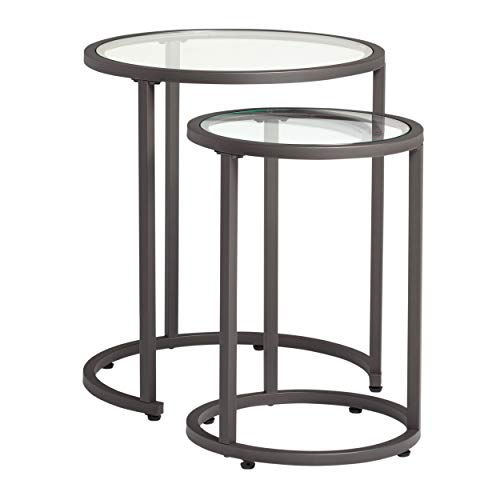 - Studio Designs Home Camber Nesting Tables Metal and Glass Side Tables