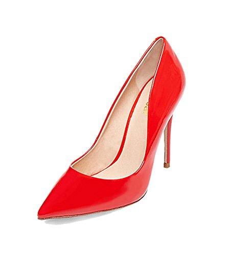 Guoar Donna Tacco A Spillo Plus Size Scarpe Solide Scarpe A Punta Vernice Pompe Per Abito Da Cerimonia Nuziale Rosso Brevetto
