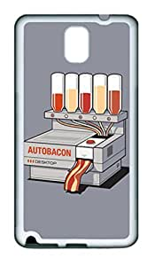 Baconizer TPU Silicone Case Cover for Samsung Galaxy Note 3 N9000 White