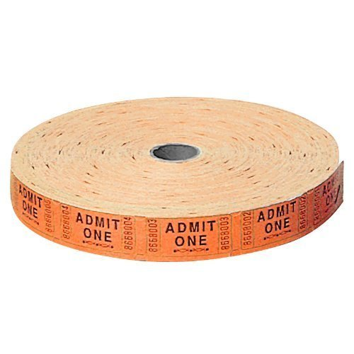 US Toy Carnival Tickets Roll Admit 1 Party Supplies Cards (1 Roll of 2000), Orange -