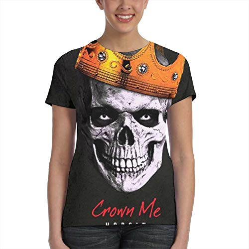 NancyA Women's Hopsin Crown Me Skull Design 3D Printed Short Sleeve Tshirt Black M