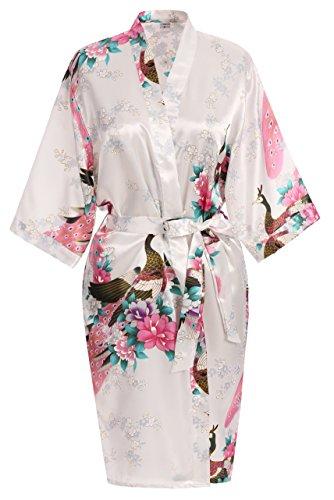 USDisc t Elegant Short Sleeve Printing Peacock Silk Women s Kimono Robe for  Parties Wedding Bridal and Bridesmaid b44418a82