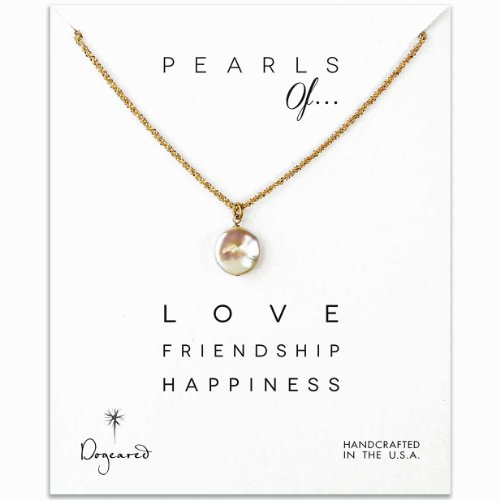 Dogeared Pearls of... White Coin Pearl Necklace, Gold Dipped