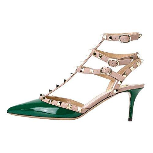 VOCOSI Women's Rivets Buckle Studded T-Strap Pointed-Toe Kitten Heels Fashion Sandals P-Green 12 ()