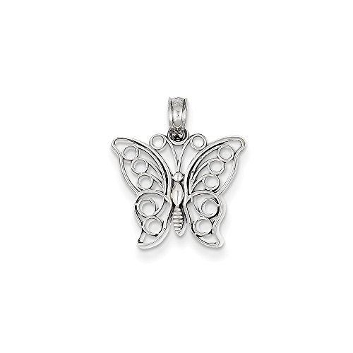 14k White Gold Cut-Out Butterfly Solid Polished Charm Pendant
