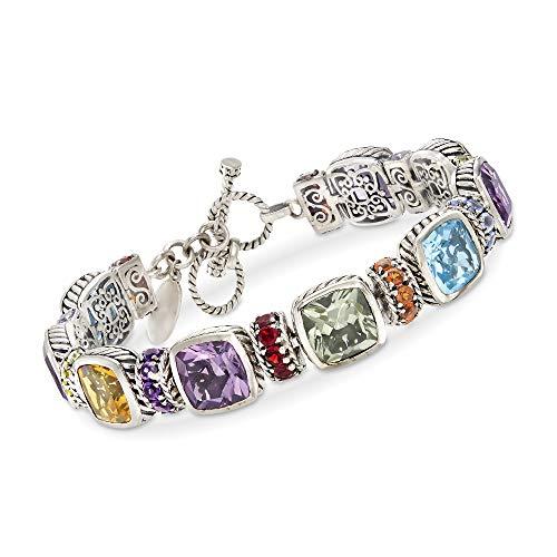 - Ross-Simons 29.95 ct. t.w. Multi-Gemstone Toggle Bracelet in Sterling Silver
