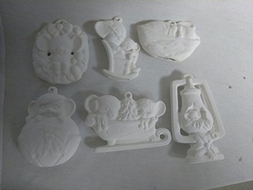 Mouse Ornaments Asst #2 set of 6 ready to paint ceramic bisque CreativeKreationsCeramics