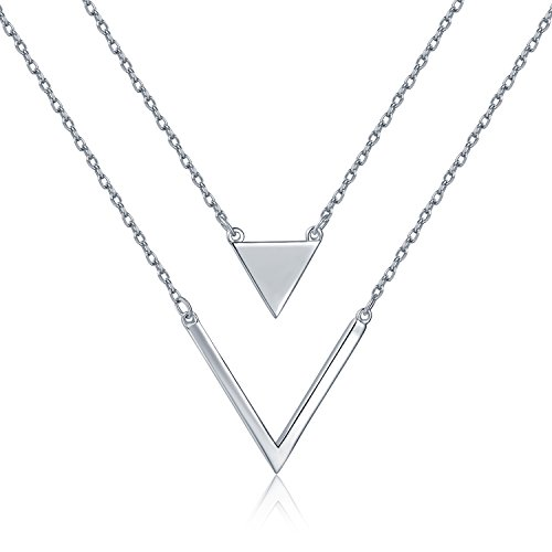Chain Triangle Necklace - MBLife 925 Sterling Silver Minimalist Simple Geometric Triangle Double Chain Necklace (17