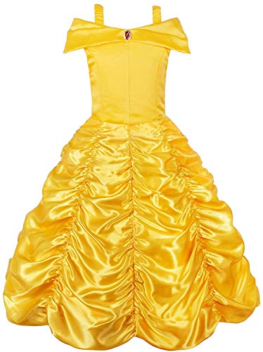 Belle Princess Layered Costumes Girls Cosplay Party Dress up Shoulder Outfits Yellow,150 7-8 Years -