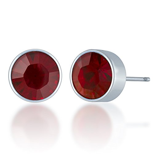 (Ed Heart Harley Small Stud Earrings with Red Siam Round Crystals from Swarovski Silver Toned Rhodium Plated)