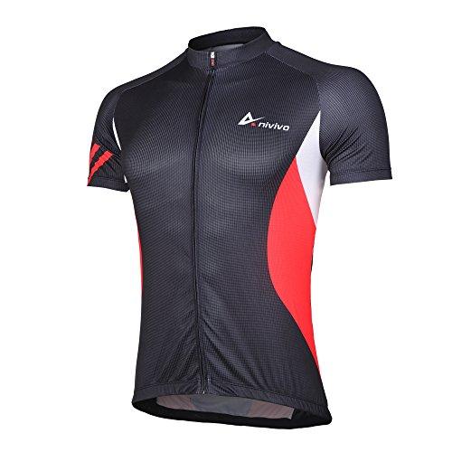 Road Bike Cycling Jersey - Cycling Jersey Mens Short Sleeve, Men's Bike Jersey Full Zipper Cycling Shirts with Pockets Biking Jersey& Road Bicycle Jersey(Red,L)