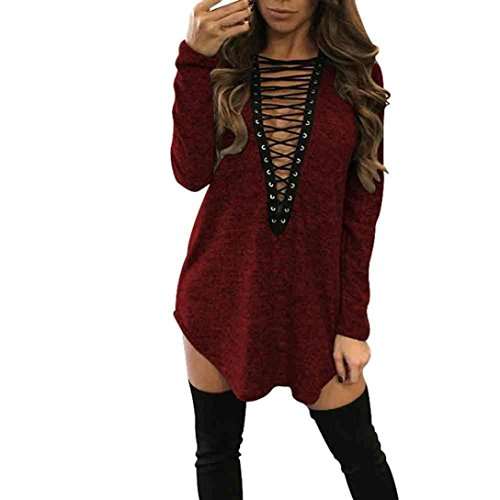 Paymenow Sexy Women Bandage Blouse Long Sleeve Club Party Loose Casual Ladies Dresses (M, Red)