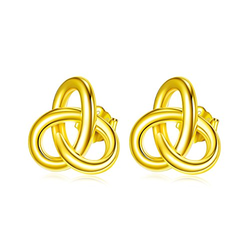 - Gold Celtic Knot Sterling Silver Interlocking Circle Drop of Water Tricyclic Stud Earrings Pair