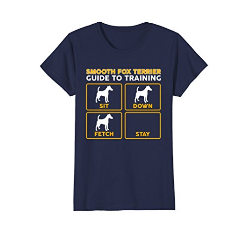 Womens Smooth Fox Terrier T-Shirt | Funny Guide To Training Small Navy