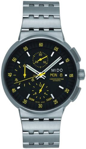 Mido All Dial Automatic Chronograph Watch with Yellow Accents