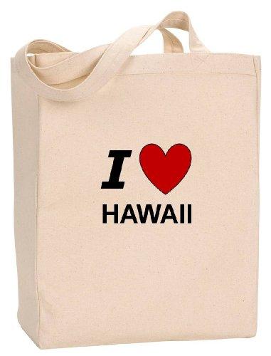 I LOVE HAWAII - State Series - Natural Canvas Tote Bag with - Maui Shopping Lahaina