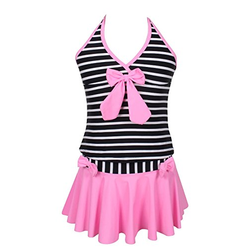 Qyqkfly Girls Elegant Inspired Colorful Two Piece Stripe Tankini Swimsuit (FBA) (10, Pink)