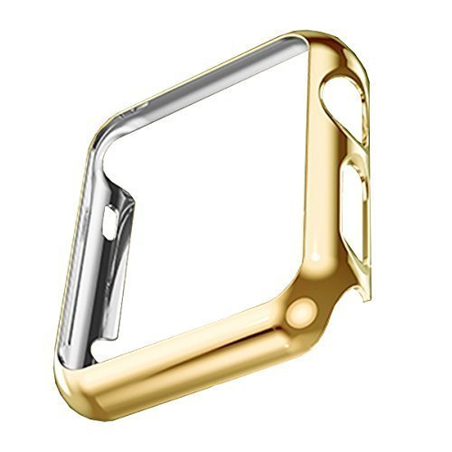 Apple Watch Case,biaoge Super Thin Pc Plated Plating Protective Bumper Case for Apple Watch 42mm (Pc Case Gold 42mm)