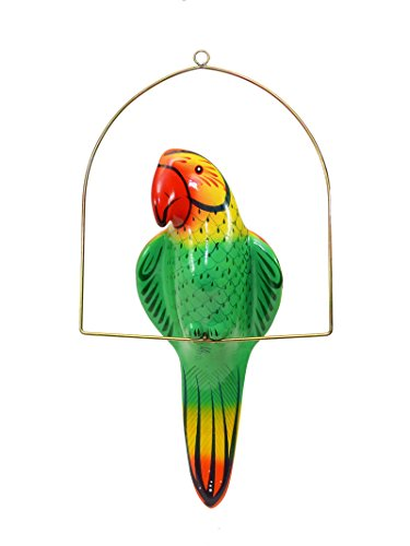 Ceramic Hanging Parrot On Perch 21 Inches High Hand