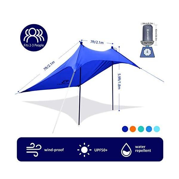 41Q5mC3hf L Bessport Strandzelt Sonnenschutz Kommt mit 4 Sandsäcken und 4 Aluminiumstangen 3mx3m   UPF 50+ UV Sonnenschutz…