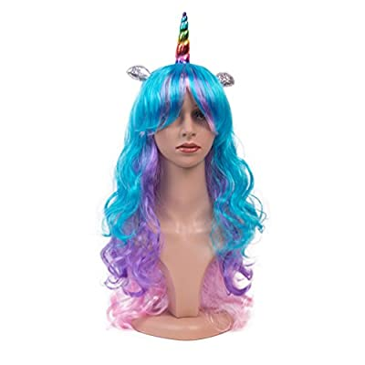 LEOSA Unicorn Pony Cosplay Wig Multi-Color Wigs Ponytail Long Curly for Women Halloween Costumes Party Hair Accessories (Colorful horn)