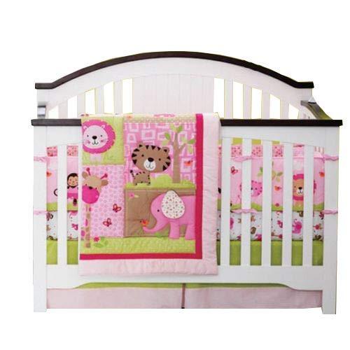 New Baby Sweet Zoo Safari 9pcs Crib Cot Bedding Set with musical mobile