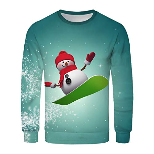 Christmas Blouse Men Women 3D Printed Long-Sleeved Sweater with Round Collar top Red