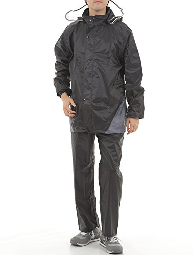 BEDAYS フード付き レインウェア レインスーツ レインコート 上下セット 防水 軽量 自転車 バイク ゴルフ
