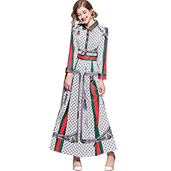 Y&D Casual Dress For Women With Printed single breasted and Full sleeve Maxi Dress-XXL