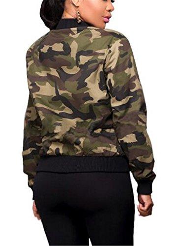 Chaquetas Invierno Jacket Otoño Cortas de Mujer Outwear Manga Crop Larga Green Chica Sudaderas Deportivas Camuflaje AILIENT Abrigo Top Cremallera 0TwBxgq