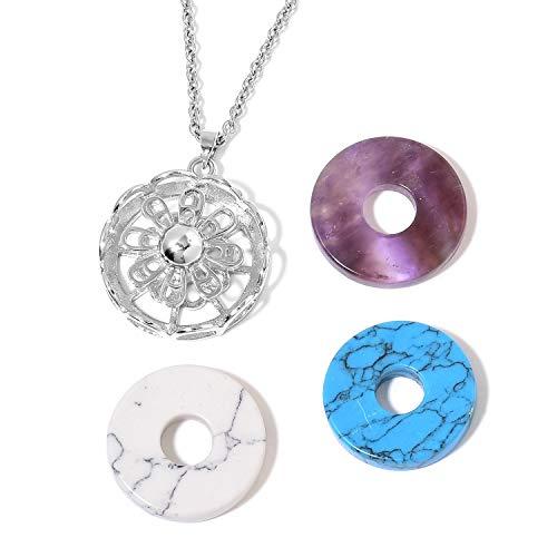 (Shop LC Delivering Joy Set of 3 Charm and Vintage Statement Chain Pendant Necklace Lapis Lazuli Rose Quartz Aventurine Silvertone 24