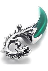 KONOV Stainless Steel Wolf Tribal Mens Biker Necklace Pendant, Green, 24 inch Chain