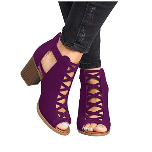 Liyuandian Womens Platform Open Toe Ankle Strap Zipper Back High Heel Sandals Purple 8 ()